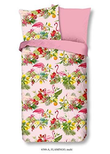 Aminata Kids - Bettwäsche-Set 135-x-200 cm Flamingo-Motiv Papagei Kaktus Blume-n 100-{602306b7255e1a50c3a8208d5f59f8de19c65e46813e18bc6e39c5baadbcbfc7} Baumwolle Renforce rosa