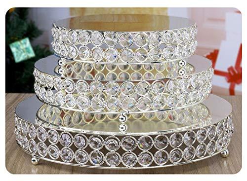 H & D 3-set présentoirs à gâteaux ronds Présentoir à cupcakes Présentoir à Dessert avec perles de cristal (Argent)