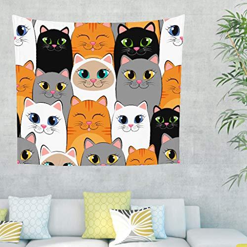 Katze Tiere Wandteppich Wandbehang Modern Art Tuch Wandtuch Tapestry Tapisserie Wanddeko für Schlafzimmer Strandtuch Tischdecke Bunt 230x150cm (Wandteppich Modern Wandbehang)