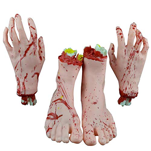 Forepin 4 Teilig Halloween Dekoration Realistische Latex blutig Hand mit Fuß Scary Blut Körperteile für Halloween Party Indoor Outdoor Prop und Cosplay Decor - ()