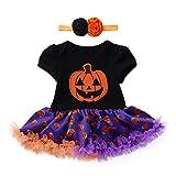 SEWORLD Baby Halloween Kleidung,Neugeborenes Niedlich Infant Kleinkind Baby Mädchen Halloween Kürbis Bogen Party Kleid Kleidung Kleider(Schwarz,18 Monate)