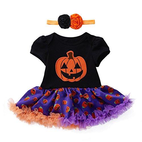 SEWORLD Baby Halloween Kleidung,Neugeborenes Niedlich Infant Kleinkind Baby Mädchen Halloween Kürbis Bogen Party Kleid Kleidung Kleider(Schwarz,3 Monate)