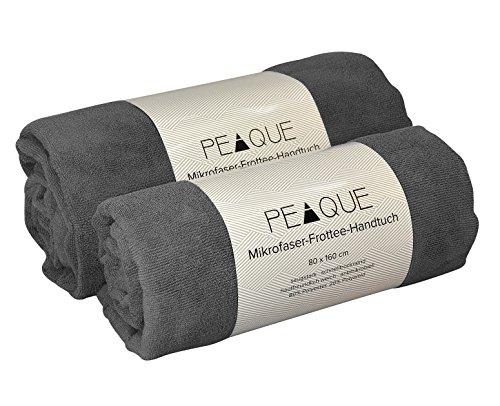 PEAQUE Mikrofaser Frottee-Handtuch – XXL, leicht, schnelltrocknend, pH-hautneutral – ideales Saunatuch, Badetuch und Reisehandtuch (Grau/Navy, 100x200)