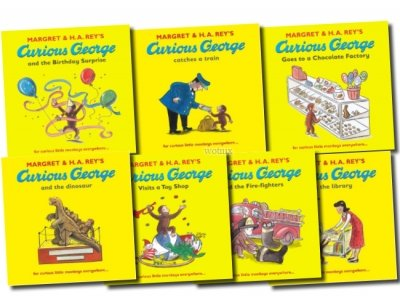 Image of Curious George The Monkey Collection 7 Book Set Pack Series (Dinosaur, Fire-fighters, Visits the Library, Birthday Surprise, Visits a Toy Shop, Catches a Train, Goes to a Chocolate Factory) (Curious George)