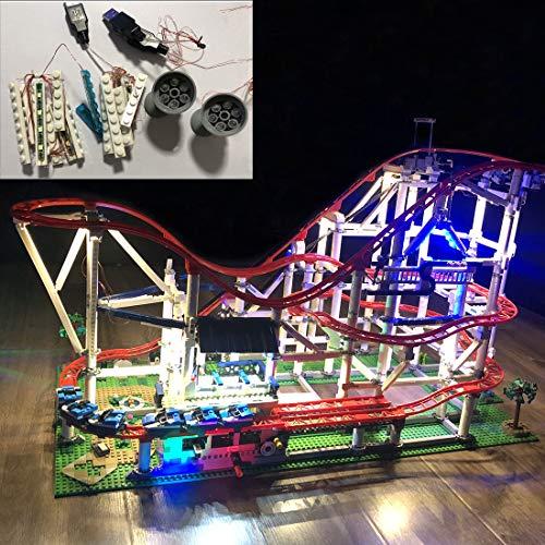 Poxl Jeu De Lumières pour Roller Coaster Modèle, Kit de LED Kit de Éclairage Compatible avec Lego 10261(Lego Modèle Non Inclus)