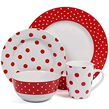 16PCS Ceramic Porcelain Polka Dot Dinner Set Plates Cups Bowls Kitchen  Chervi Service (Red Polka)