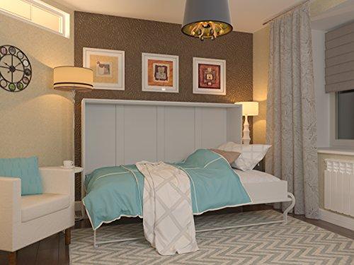 Schrankbett 120x200 cm Horizontal Weiß - Schrankklappbett & Wandbett, ideal als Gästebett - Wandbett, Schrank mit integriertem Klappbett, SMARTBett