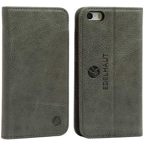 EDELHAUT Handytasche für iPhone SE iPhone 5S und iPhone 5 mit unsichtbarem Magnetverschluss in grau aus echtem Leder