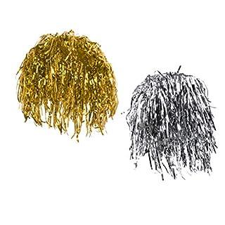 D DOLITY Set 2pcs Women's Men's Glitter Shiny Silver Gold Metallic Foil Fancy Dress 80s 90s Hens Night Party Tinsel Wigs Prop