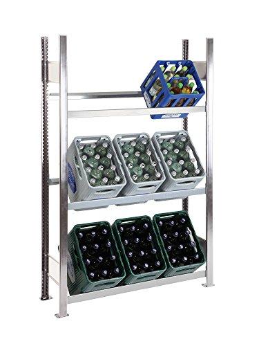 SCHULTE Getränkekisten-Grundregal 1800 x 1060 x 336 mm, komplett verzinkt, 3 Ebenen, für bis zu 9 Kästen; MADE IN GERMANY