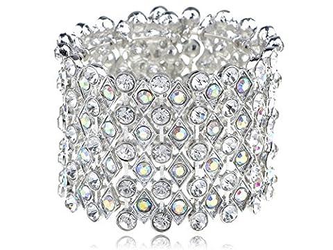 Chunky Aurora Borealis Crystal Rhinestone Shimmer Fashion Bracelet Bangle