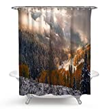 Beydodo Bad Vorhang für Badezimmer Landschaft Lustiger 3D Duschvorhang Antischimmel 180x180