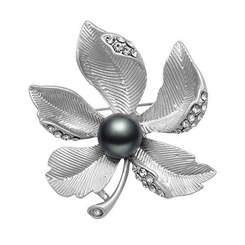 ONUEJXD Neue Elegante graue Perle Ahornblatt Brosche Gold versilbert matt Broschen Pins Kleidung Kleid Hut Schmuck Zubehörversilbert