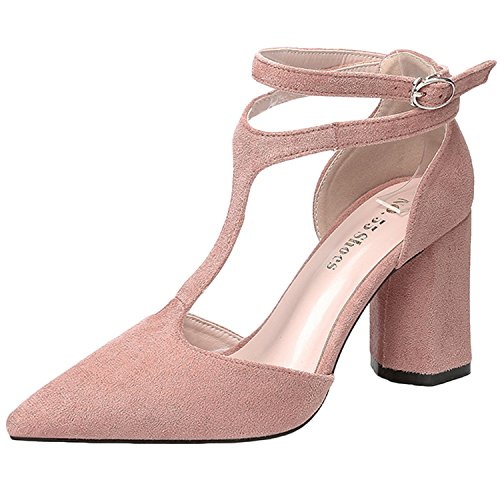 Oasap Women's Pointed Toe T-strap Ankle Buckle Chunky Heels Sandals Pink