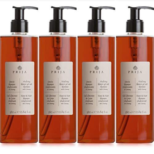 Prija Shampoo Shampooing Douche Gel Douche Ginseng 4x 380 ml + 4x Gel Pump testé dermatologiquement Minimiser les allergies sans parabens, végétaliens ni silicone sur une base naturelle