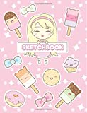 """Sketchbook: Cute Anime Girl & Kawaii Food: 120 Pages of 8.5"""" x 11"""" Blank Paper for Drawing, Sketching and Doodling (Sketchbook for Girls)"""