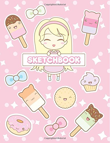 Sketchbook: Cute Anime Girl & Kawaii Food: 120 Pages of 8.5