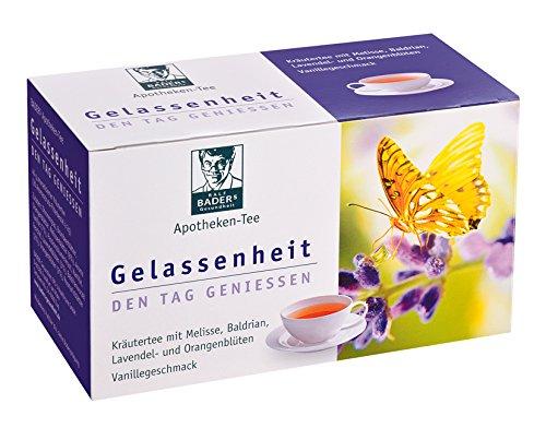 BADERs Apotheken-Tee Gelassenheit Lavendel Baldrian Melisse. Den Tag genießen, in der Nacht gut schlafen. Enthält ausgewählte Kräuter wie Orangenblüten, Melisse, Baldrian, Kamille, Fenchel, Lavendelblüten und Passionsblume.Vegan. Glutenfrei. Pharmazentralnummer: 09738486 -