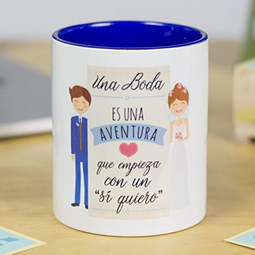 La Mente es Maravillosa - Taza con frase de amor y dibujo romántico (Una boda es una aventura que empieza con un'sí quiero') Regalo para San Valentín