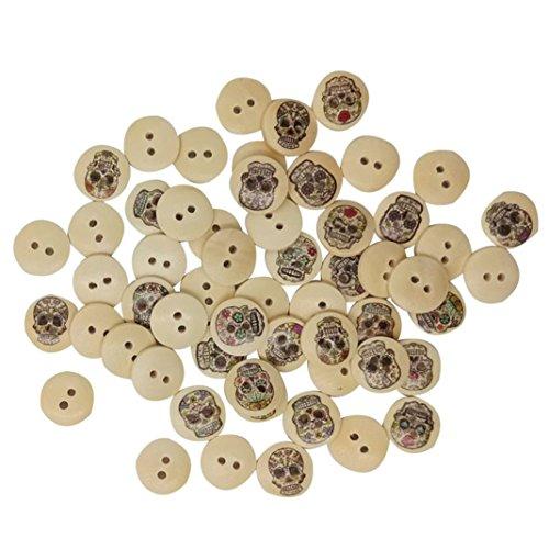 100 botones redondos de 2 agujeros Bismarckbeer de madera con...
