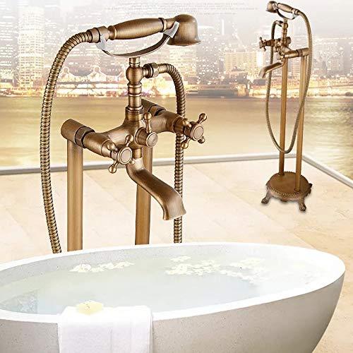 WWFF Europäische Antike Stehende Badewanne Kupfer Bodenstehende Badewanne Chaise Hot and Cold Shower Set -
