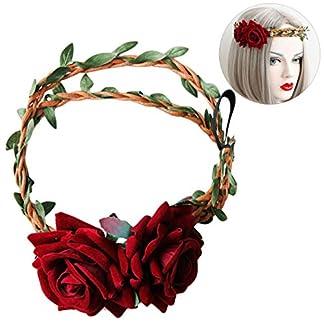 Zoylink Corona De Pelo Tocado Floral Rosa Flor Corona Para La Boda De Navidad