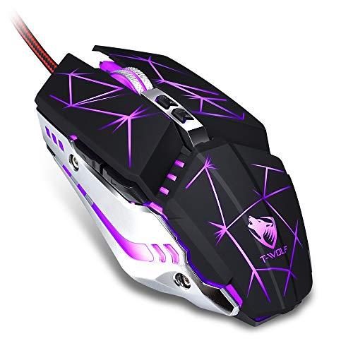 T-WOLF V7 Gaming-Maus mit Kabel (3200 DPI) [programmierbar] [Atemlicht] Ergonomisches Game-USB-Computer-Maus, RGB-Gamer, Desktop-Laptop, PC-Maus, 7 Tasten für Windows 7/8/10/XP Vista, Star schwarz