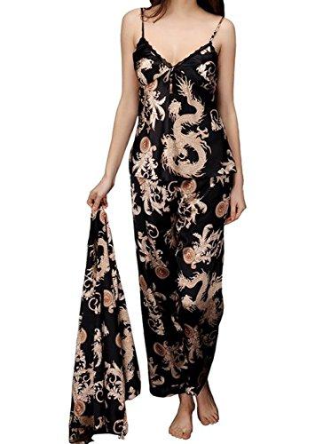 Jusfitsu À Manches Longues Pyjama de Soie de Femme Sexy de Confort Trois-pièces Noir