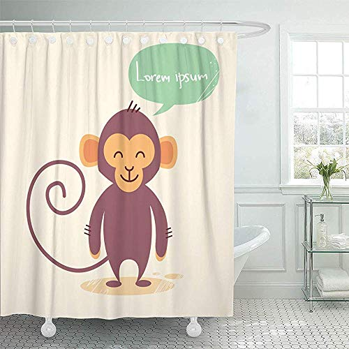 LINGJIE Duschvorhang Brown 2016 Cute Monkey Cartoon Chat Bubble Drawing Flat Adorable Shower Curtains Sets with Hooks Waterproof Polyester Fabric