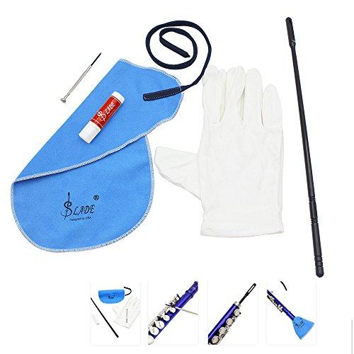 Andoer® Flöte Reinigungsset mit Reinigungstuch Stock Korkfett Schraubenzieher Handschuhe