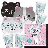 Unbekannt 48-teiliges Party-Set Katze - Kätzchen - Teller (Formteller) Becher Servietten für 16 Kinder