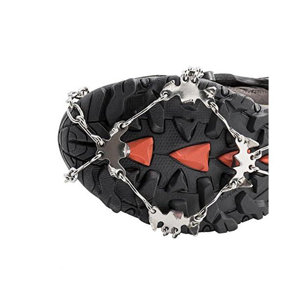 AUHIKE Crampones 18 de Dientes y Garras l Cubierta Antideslizante de Zapatos para Nieve y Hielo, con Cadena de Acero Inoxidable 2