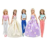 Weimi 5 Set Doll Clothes Fashion Handmade Clothes Outfit 2 Dress 3 Tops 3 Pantalones Pantalo...