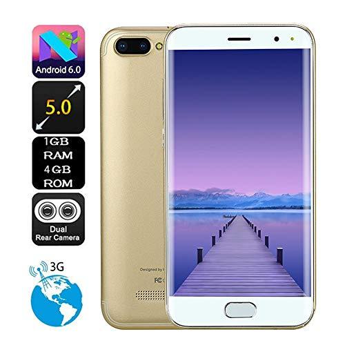 Sayla Android 6.0 Dual SIM Smartphone, Ultra dünnes 5 Zoll GSM/WCDMA-Touchscreen WiFi Bluetooth GPS 3G Anruf-Handy im Vollbildmodus (Gold)