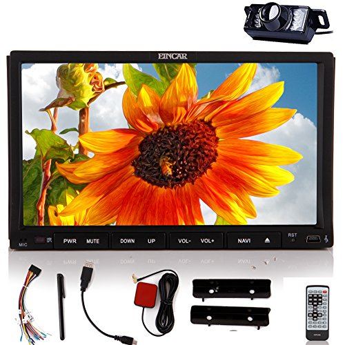 EinCar GPS Navi Capacitive Touch Screen Vehicle Stereo Car DVD Player Audio Parts Radio Receiver Bluetooth Video Multimedia System FM AM 2 Din Autoradio CD Aux Remote control logo BT Rear View Camera