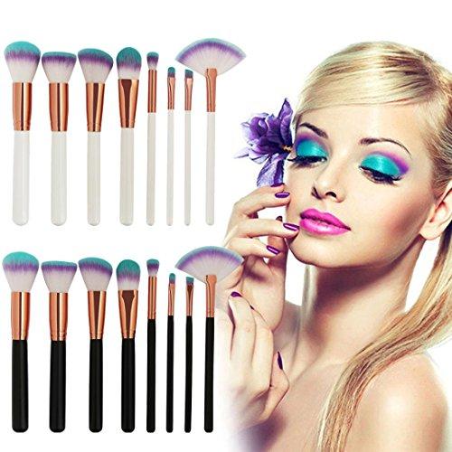Pinceaux Maquillage Set, HUHU833 Cosmétique Professionnel 8pcs Brosse de Maquillage de Brosse Poudre Contour Blush Correcteur Fondation Pinceaux Cosmétique Brosse Set Outils (Blanc)