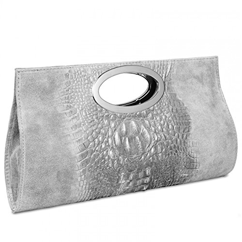 Handtasche Clutch Grau Umhängetasche Farben CASPAR Damen mit Hell Wildleder aus viele TL692 Krokoprägung Rq5w67wE