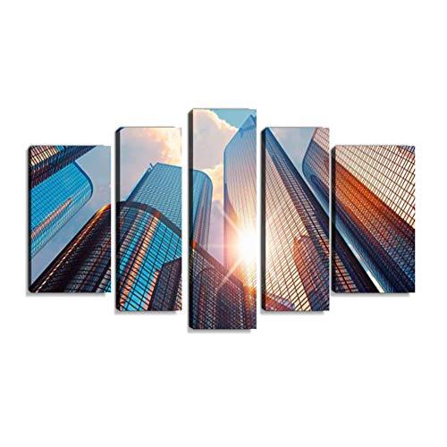 Inbel Kunst Morning in Downtown District Wandbilder abstrakt Leinwandbild Digitalkunstdruck leinwanddrucke Eigenes Design Gemälde Wanddekoration mit Holzrahmen 5-teilig