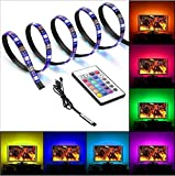 LED RGB Bande Lumineuse Pour HDTV, Solocil 2M USB Rétroéclairage TV Bande Led Etanche Flexible avec 16 Couleurs et 4 Modes Dynamiques Utilisé pour Décorer la Télévision, Miroir, Ordinateur, etc.