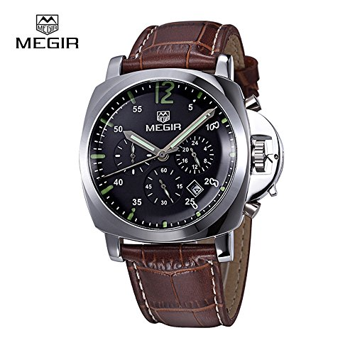351716b5922c MEGIR Relojes Deportivo Hombre Grande Oro rosa Analogico de cuarzo