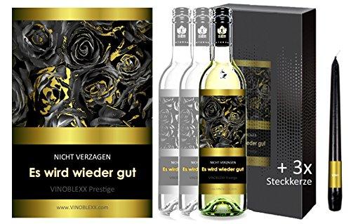 ES WIRD WIEDER GUT. 3er Geschenkset KLASSIK Weisswein. Ein Geschenk mit Stil & Prestige in Golddruck das jeden begeistert. Hochwertiger Qualitätswein. Verschiedene Etiketten-Designs, aktuell: Rosen
