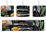 Gewürzmischung auf Löffeln schwarz/weiß inkl. Lampenfassung E27, Lampe mit Motivdruck, tolle Deckenlampe, Hängelampe, Pendelleuchte - Durchmesser 30cm - Dekoration mit Licht ideal für Wohnzimmer, Kinderzimmer, Schlafzimmer