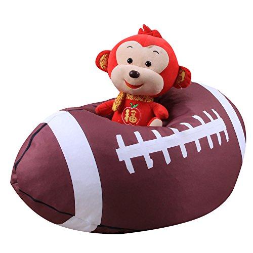 Kindersitzsack Kinder Sessel Stofftier Aufbewahrungtasche Großes Fassungsvermögen 26'' Spielzeugaufbewahrung für Kinder Stofftier Plüschtiere Decke (American Football Design)