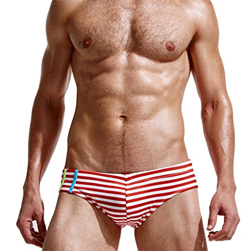 Herrenbekleidung Sommer Shorts Mode beiläufige Sporthosen JYJMHerren Badehose Beachwear Unterwäsche Surf Boardshorts Flacher dreieckiger gestreifter StrandkofferHotpants Shorts (M, Rot) (Rash Oakley Guard)