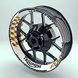 OneWheel Felgenrandaufkleber Motorrad 4er Komplett-Set (17 Zoll) - Felgenaufkleber Triumph Racing (Orange - matt)