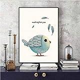 Djkaa Moderne Einfache Kunst Buntstifte Malerei Liebe Vögel A4 Leinwand Poster Bild Gemälde Wohnzimmer Dekoration S