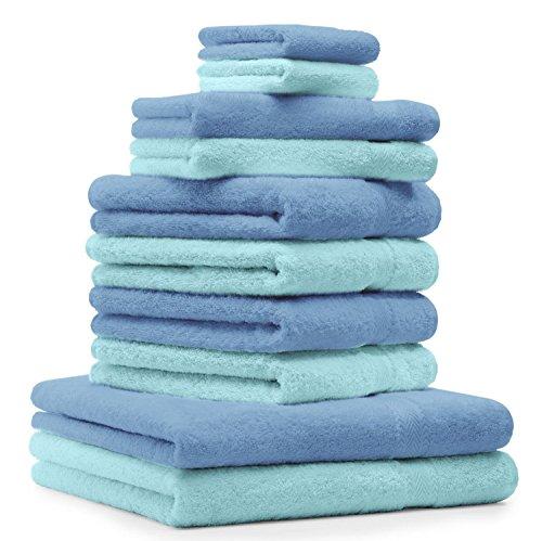 BETZ Lot de 10 serviettes set de 2 serviettes de bain 4 serviettes de toilette 2 serviettes d'invité et 2 gants de toilette 100% Coton Premium couleur bleu clair, turquoise
