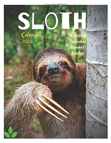Sloth Calendar 2020,Mini Book Calendar with holidays reminder,Motivational Quotes,To-do List,Planner,Notebook,Meal,App Organizer,Activity book and Sloth Gallery Ever New Month.
