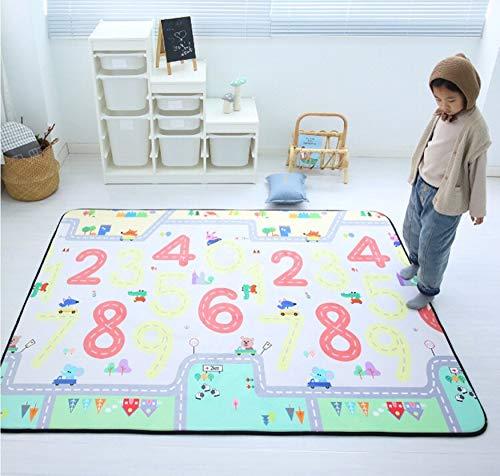 USTIDE Baby Spielmatte Memory-Schaum Bodenteppich Lernteppich Anti-Rutsch-Baby-Matte 152,4 x 182,9 cm, Memory-Foam, Number Road, 5' 0