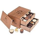 Chocolaterie - Ladies - 20 Pralinen im Holzkästchen, Geschenk für Muttertag, Pralinen-Holzkiste, Geschenkidee für Frauen